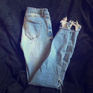 Pants - Destroyed mid waist, medium washed jeans